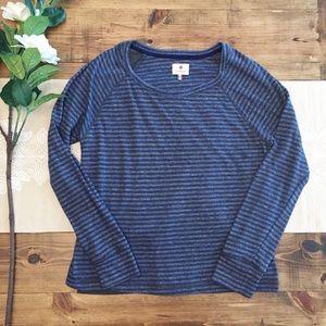 Sundry XS Blue Gray Striped Open Side Tee